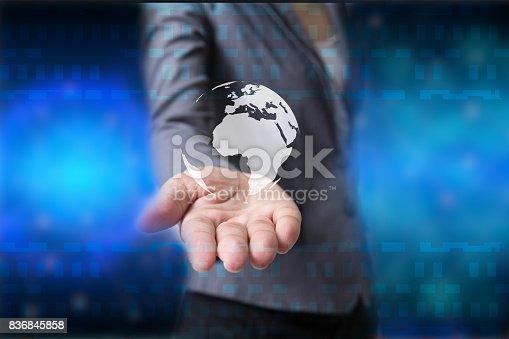 istock Future of technology network concept,Businessman holding worldwide network symbols. 836845858