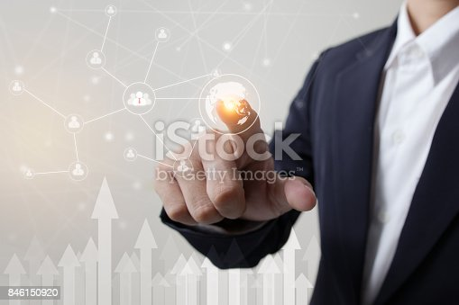 519831260 istock photo Future of technology, network, user concept, Businessman hand touching network and link user symbols and graphical interface. 846150920