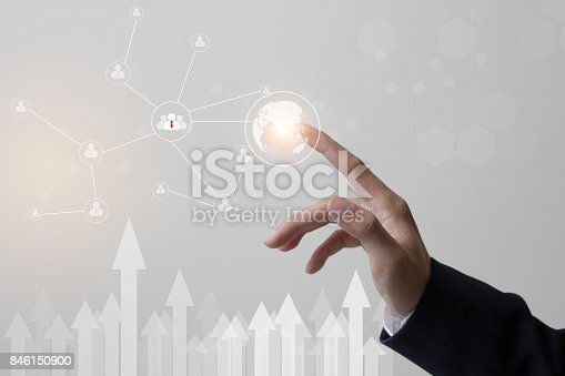 istock Future of technology, network, user concept, Hand touching network and link user symbols and graphical interface. 846150900