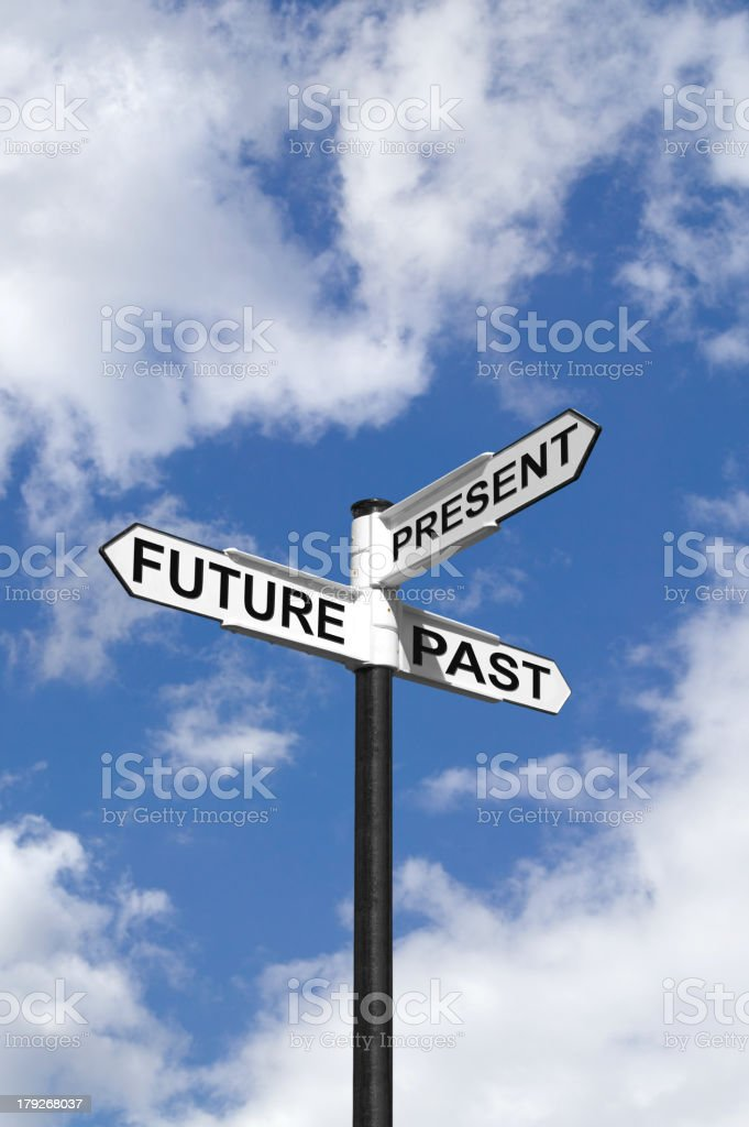 Future Past & Present sign in the sky stock photo