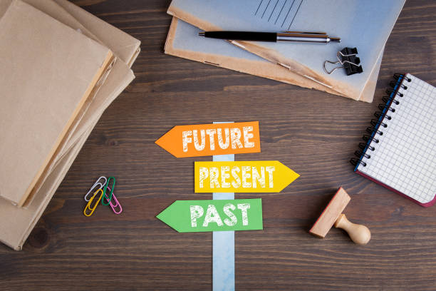 future, present, past concept. paper signpost on a wooden desk - timeline visual aid stock photos and pictures