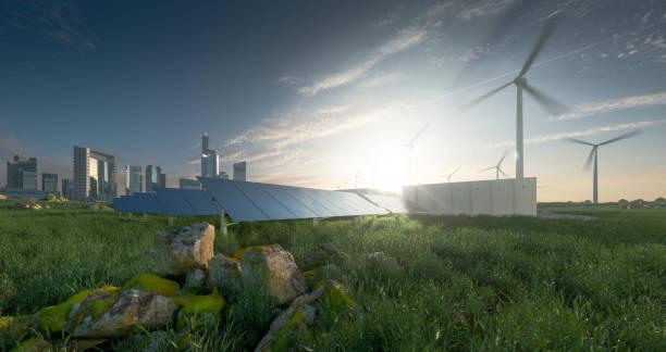 Zukünftige erneuerbare Energielösung für nachhaltige Städte. Moderne schwarze rahmenlose Sonnenkollektoren, Batterie-Energiespeicher, Windkraftanlagen und Großstadt mit Skycrapers im Hintergrund. 3D-Rendering. – Foto