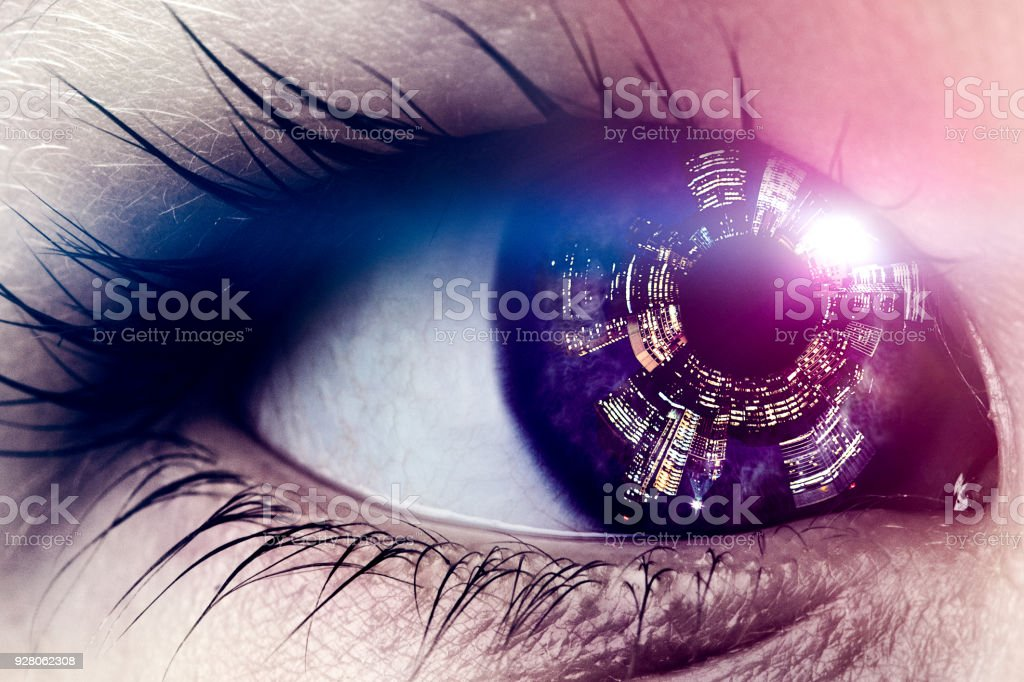 Future Smart City Viewed in Childs Eye stock photo