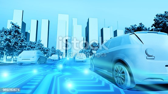 istock Future smart city with electric cars driving on the streets automatically 989280674