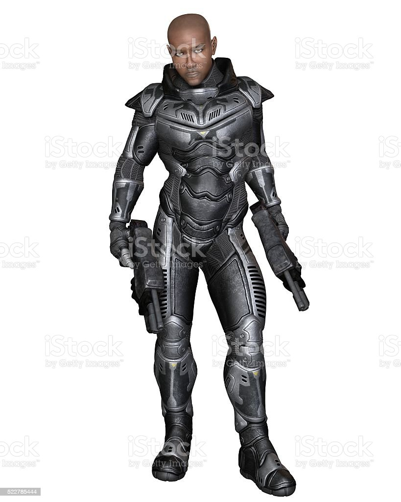 Future Soldier, Black Male, Standing - science fiction illustration stock photo