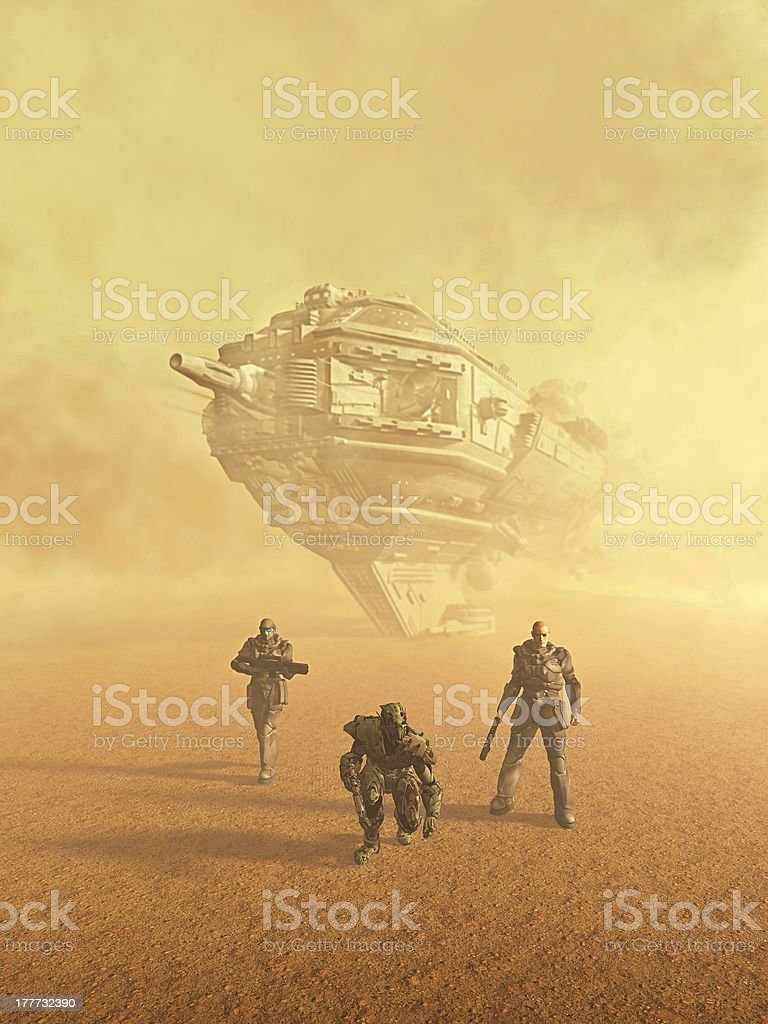 Future Soldiers - The Trackers Space marine trackers following a trail on a desert planet, 3d digitally rendered illustration Adult Stock Photo