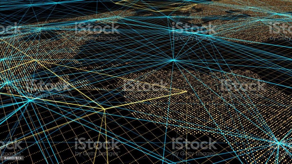 Future technology, data transmission, world map, global technology stock photo