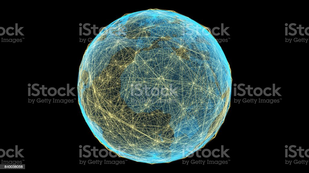 Future technology, global business and network connectivity stock photo