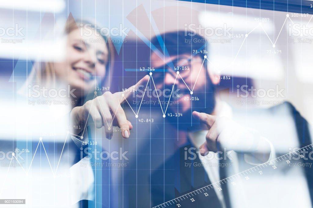 Future technology, touchscreen display interface. stock photo