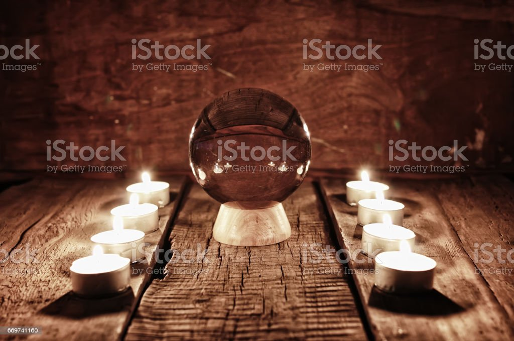 future teller candle divination stock photo