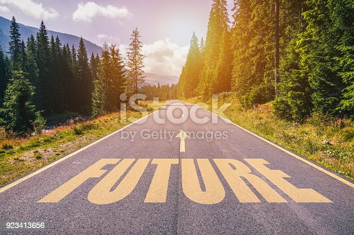 istock Future text on road against asphalt background in nature. 923413656