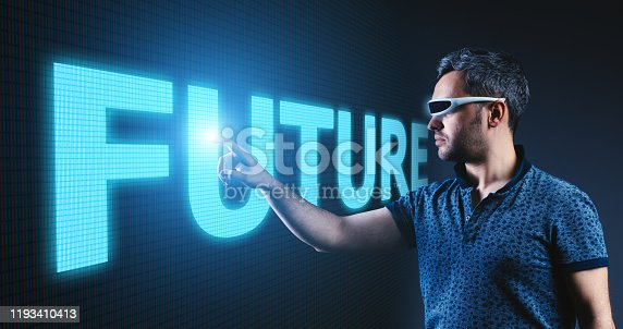 625727674 istock photo Future text on screen young man pointing touch on virtual screen business strategy on digital screen 1193410413