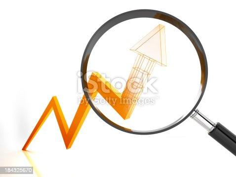 3d render of an arrow representing future rising trendClick