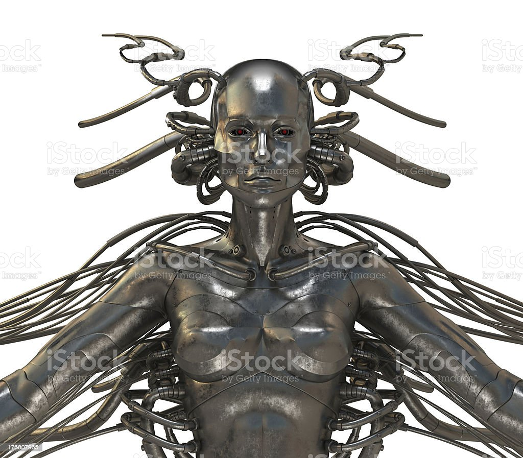 Future wired man cyborg royalty-free stock photo