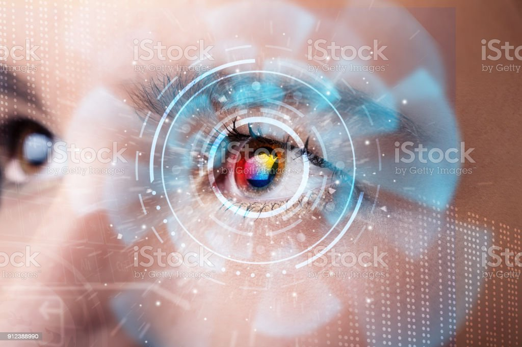 Future woman with cyber technology eye panel concept stock photo