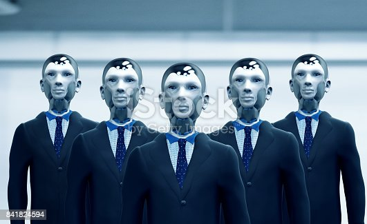 Concept of future employment where robots will occupy different jobs. A group of robots dressed in suit and tie stand shoulder by shoulder and are ready to work. They have heads made of plastic and titanium.