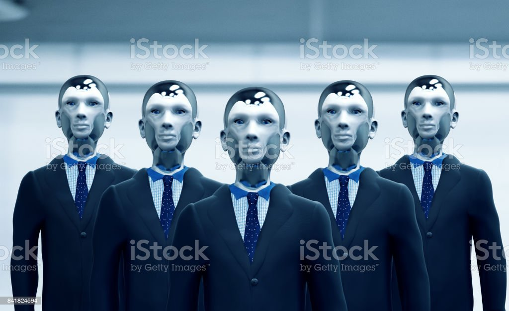 Future work force with robots working as businessmen and taking up new jobs stock photo