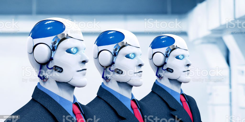 Concept of future employment where robots will occupy different jobs....