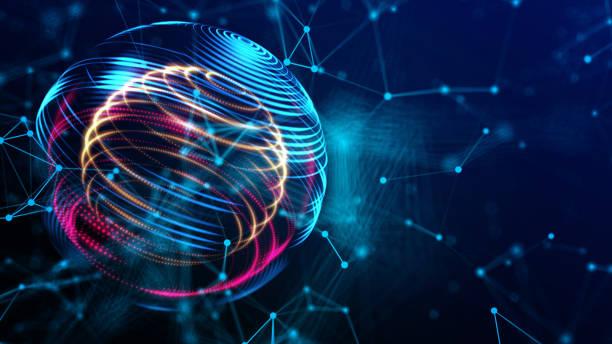 未來世界網路技術在網際空間三維渲染背景下, 豐富多彩的全球與電力能量路徑的互聯網和技術的概念。 - future 個照片及圖片檔