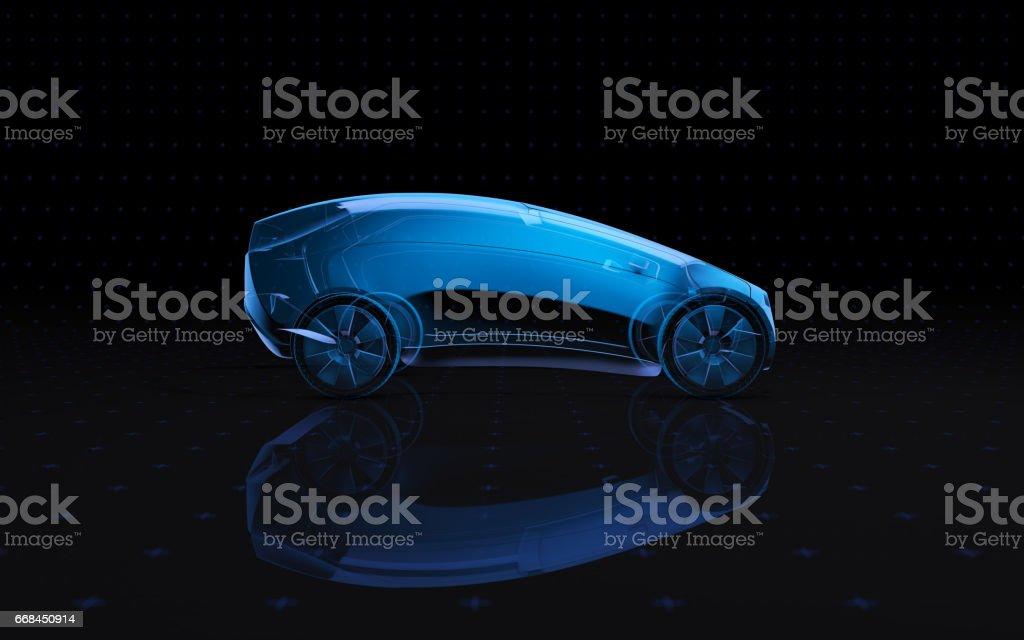Vehículo del concepto futuro de rayos x. lado de vista de representación 3D - foto de stock