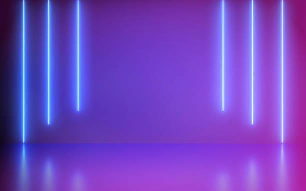 未來派抽象藍色和紫色霓虹燈線在五顏六色的背景和反射與空的空間文本渲染。 - 霓虹燈 個照片及圖片檔