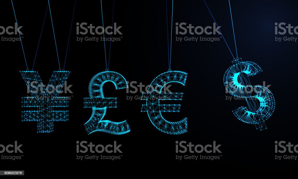 Futuristic Abstract Currency Symbols Pendulum stock photo