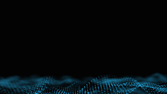 952039816 istock photo Futuristic abstract dots background, Glowing wavy blue dots, technology user interface, 3d Rendering. 1219474318