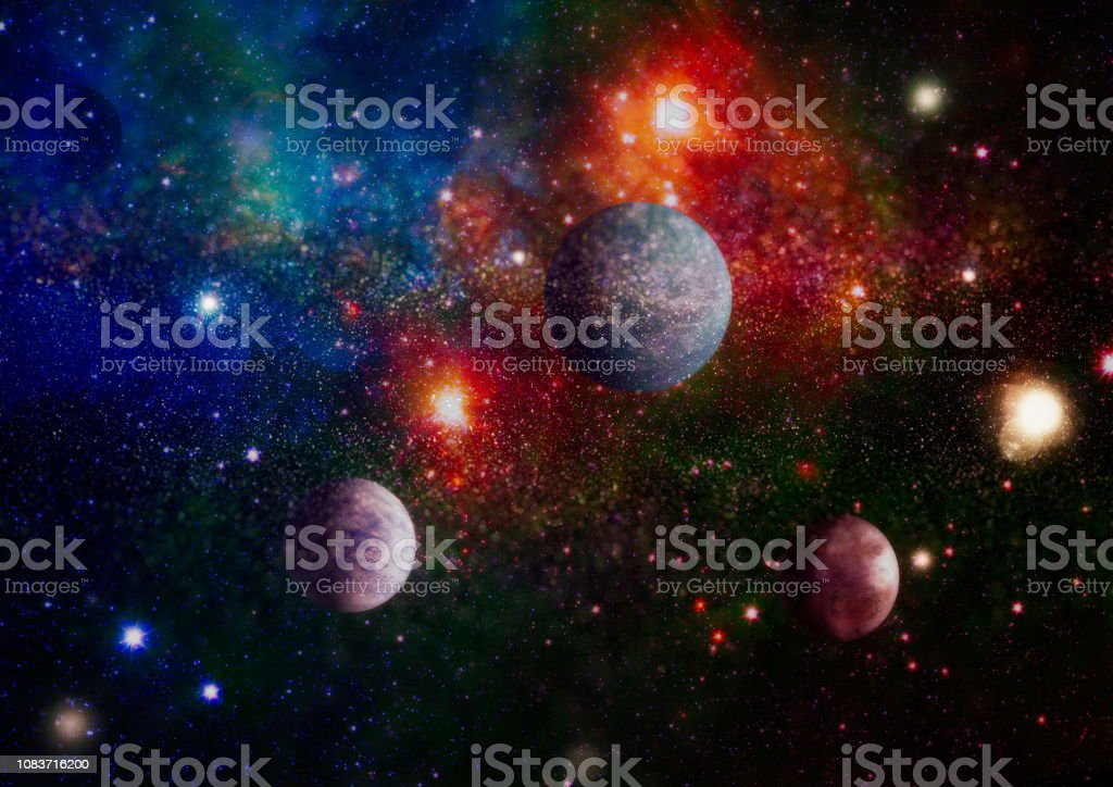 Cosmic clouds of mist on bright colorful backgrounds. Elements of...