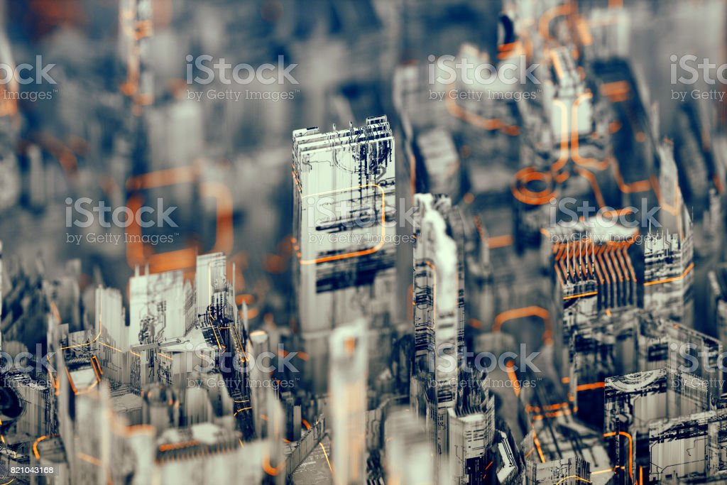 Futuristic abstract urban landscape stock photo