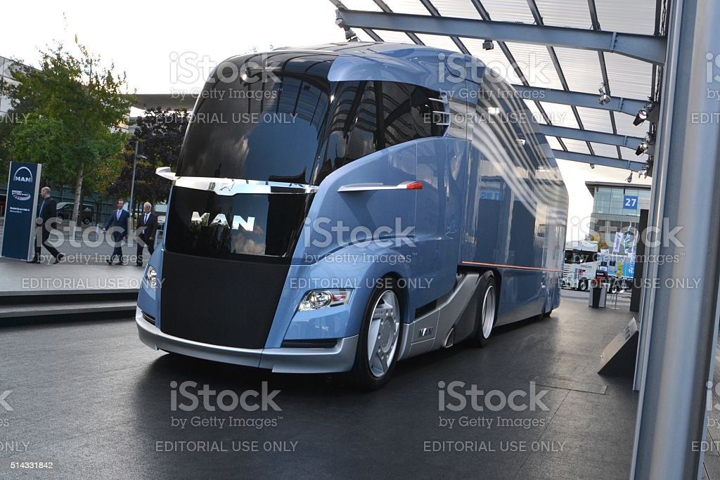 Futuristic aerodynamic truck from MAN stock photo