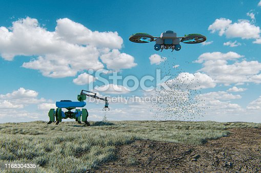 Futuristic agricultural machinery. This is 3D generated image. Drone is modelled without any reference to real models/brands.
