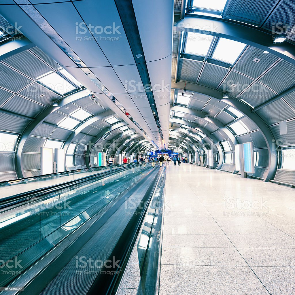 Futuristic Airport Walkway Tunnel royalty-free stock photo