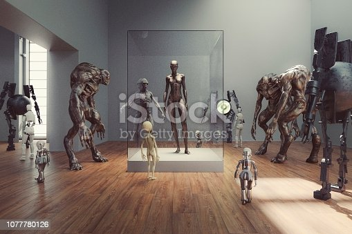 Futuristic alien museum with homo sapiens exhibition.