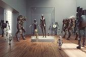 Futuristic alien museum with homo sapiens exhibition.