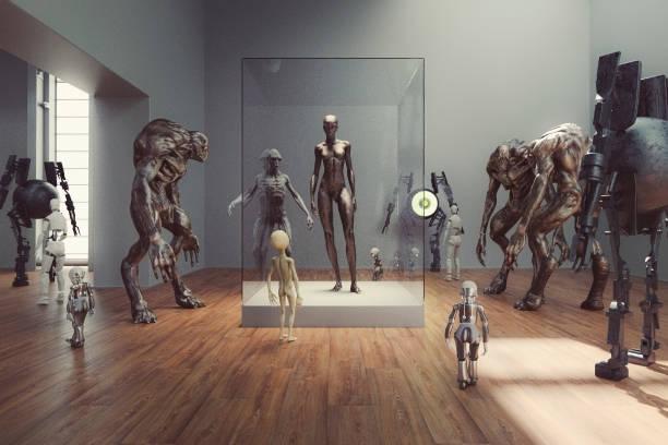 futuristic alien museum with homo sapiens exhibition - organizm żywy zdjęcia i obrazy z banku zdjęć