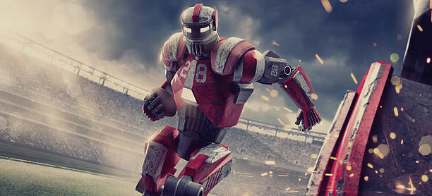 futuristic american football robot running with ball during game - last action hero stock-fotos und bilder