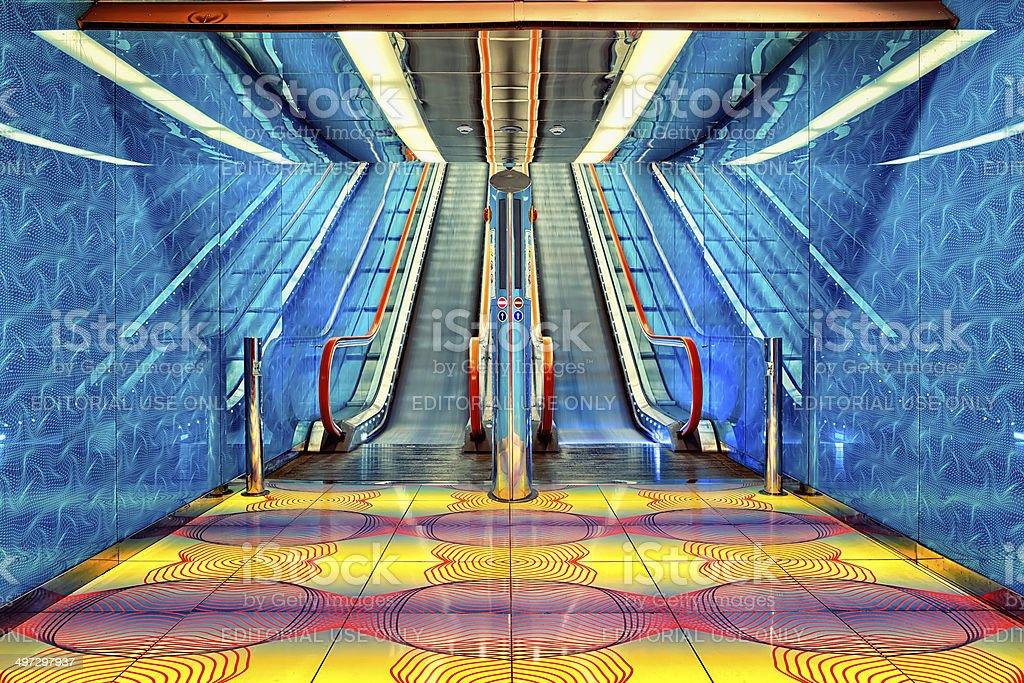 Futuristic and Modern , Naples Subway Station stock photo
