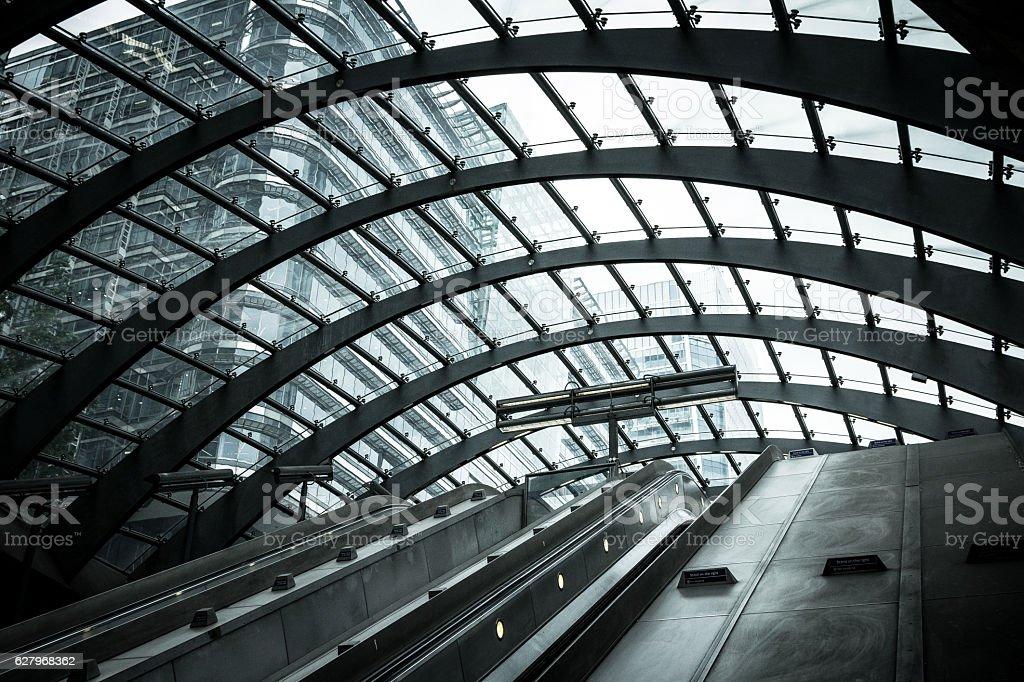 Futuristic architecture at Canary Wharf, City of London, UK stock photo