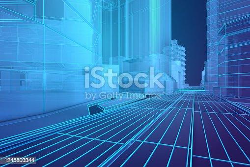 452589447 istock photo Futuristic architecture blueprint 1245803344