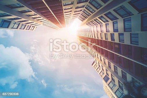 istock Futuristic architecture cityscape view 637290306
