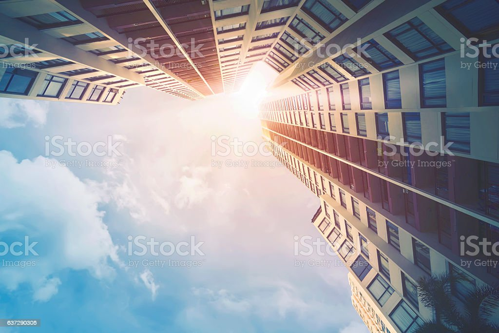 Futuristic architecture cityscape view stock photo