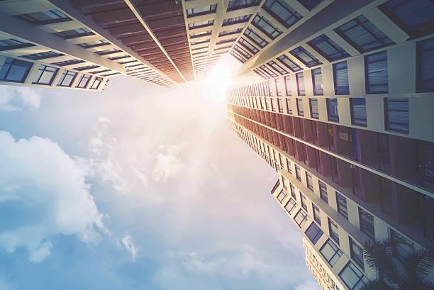 Futuristic architecture cityscape view stock photo