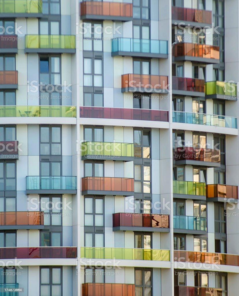 futuristic architecture; contemporary glass apartment building facade stock photo