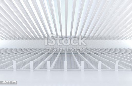istock Futuristic architecture empty space with white structure and bright light 470731178