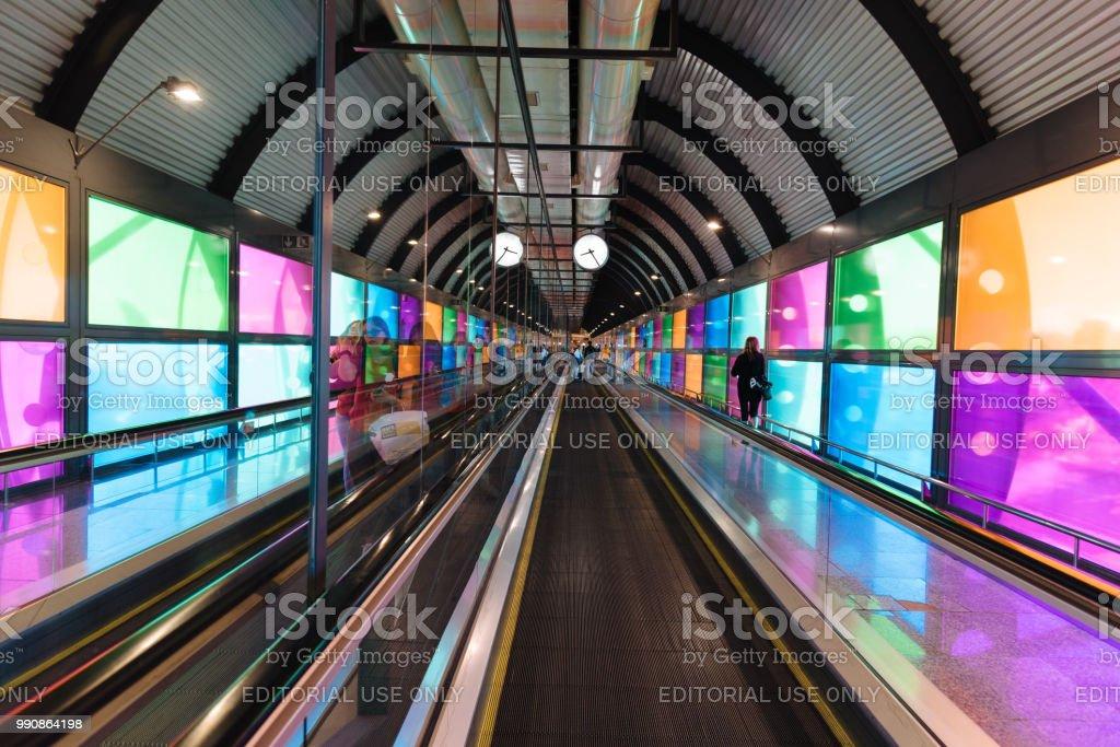 Futuristic architecture mechanical corridor in airport stock photo
