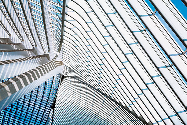 Futuristic Architecture of the Railroad Station futuristic roof of a modern transportation building, Liege Guillemins railroad station, Belgium arch architectural feature stock pictures, royalty-free photos & images