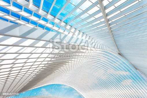 futuristic roof of a modern transportation building, Liege Guillemins railroad station, Belgium