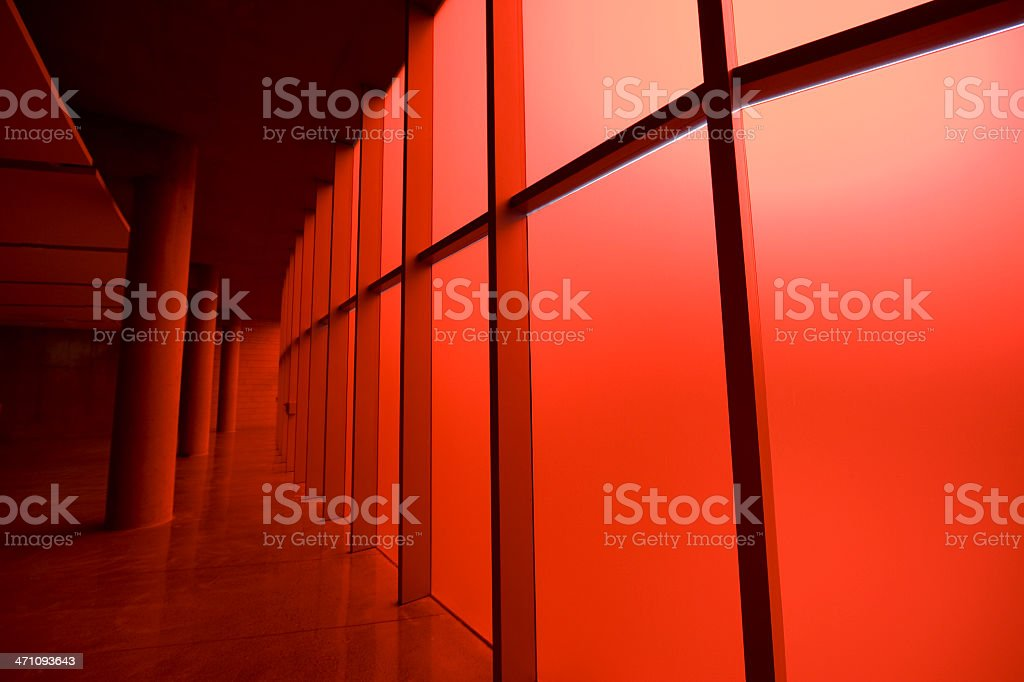 Futuristic Architecture Red Illuminated Hall royalty-free stock photo
