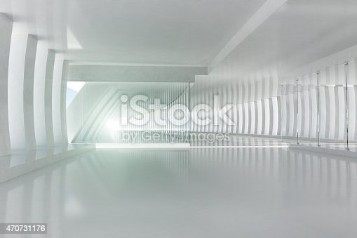 istock Futuristic architecture space with white columns and shining light 470731176