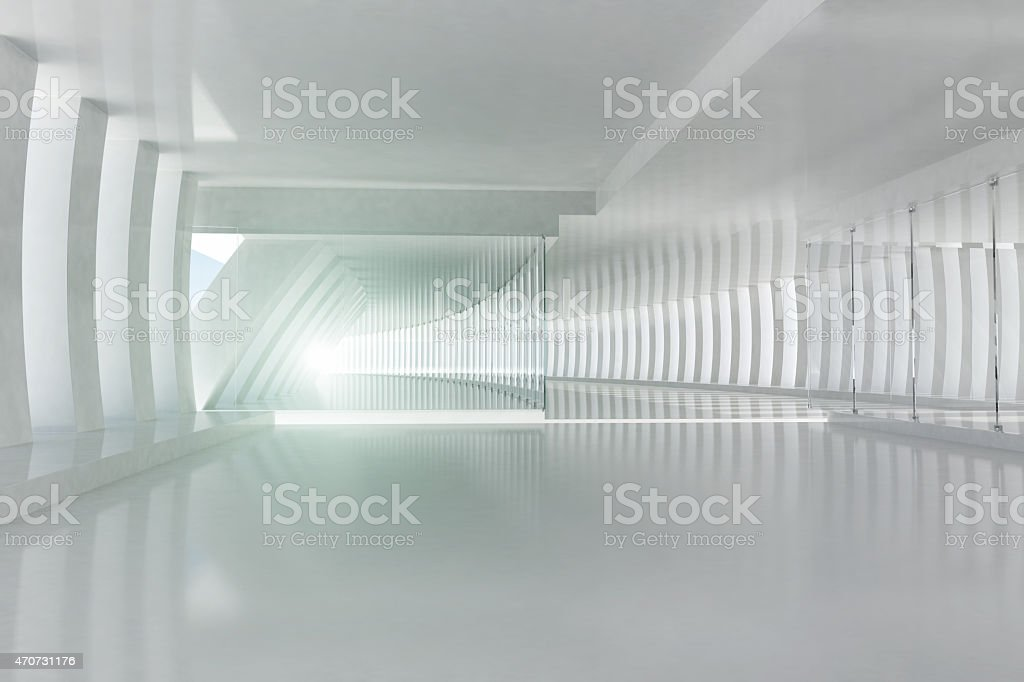 Futuristic architecture space with white columns and shining light stock photo
